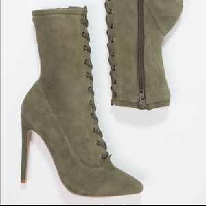 "Steve Madden ""Satisfied"" Olive Booties"